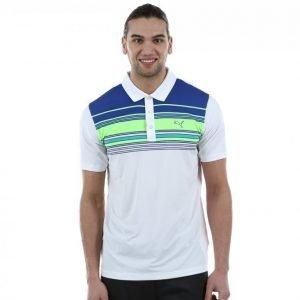 b4b54505b144 Puma Golf Key Stripe Polo Golfpikee Valkoinen   Sininen